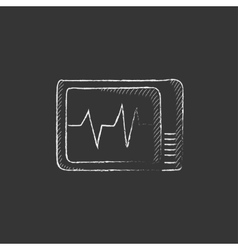 Heart monitor drawn in chalk icon vector