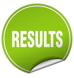 Results round green sticker isolated on white vector