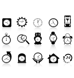 black clock icon set vector image