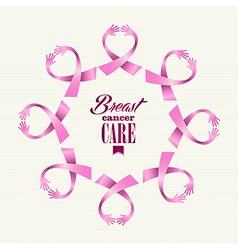 Breast cancer awareness ribbon women hands circle vector image