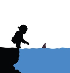 Child with shark silhouette vector
