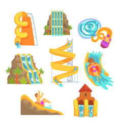 Colorful water slides and tubes aquapark vector