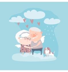 Couple of elderly angels hugging vector