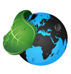 earth and green leaf vector image vector image