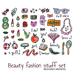 Fashion and beauty women accessories elements set vector