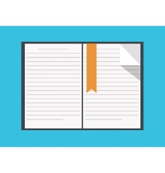flat book icon on blue background vector image