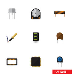 Flat icon appliance set of cpu display bobbin vector