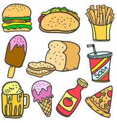 Food and drink various of doodle set vector