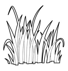 Grass icon outline style vector