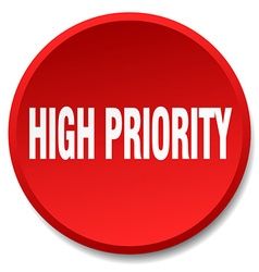 High priority red round flat isolated push button vector