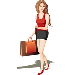 Hip lady going shopping vector