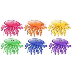 Jellyfish in six different colors vector