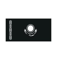 Kazakhstan flag monochrome on white background vector image