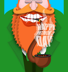 leprechaun smokes pipe happy patricks day smoking vector image vector image
