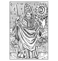 Magician engraved fantasy vector