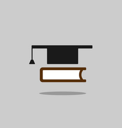 Mortarboard with book icon on grey background vector