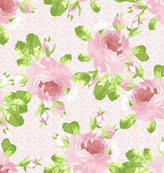 Pattern with pastel pink roses vector