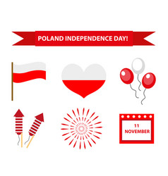 poland independence day icon set flat style vector image vector image