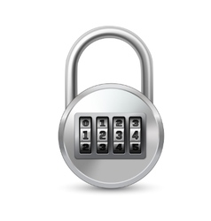 Realistic lock with combination code vector image