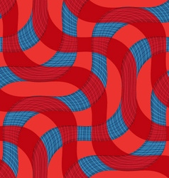 Retro 3D blue red waves with texture vector image vector image