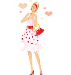 Romantic girl falling in love vector image vector image