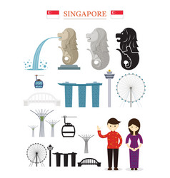 singapore landmarks architecture building object vector image