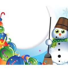 Snowman with a broom and christmas decorations vector