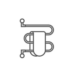 towel dryer isolated icon in linear style vector image vector image