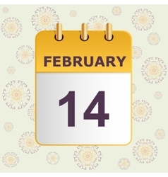 Valentine s day calendar icon on pattern with vector