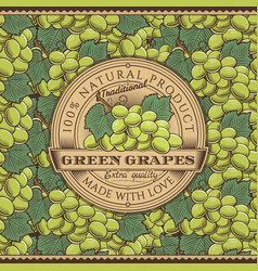 Vintage green grapes label on seamless pattern vector