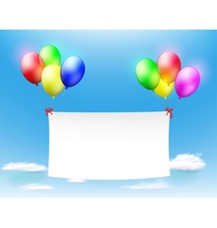 white banner hanging on the colored balls vector image vector image