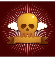 winged skull with banner vector image vector image