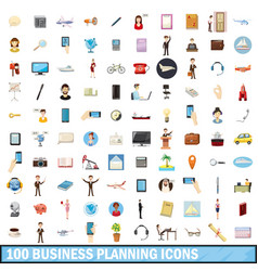 100 busness planning icons set cartoon style vector