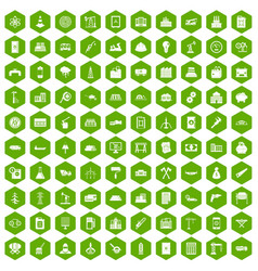 100 plant icons hexagon green vector
