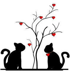 Silhouette of cat and a love tree vector