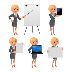 Cartoon blond business woman presentation set2 vector