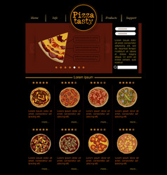 Web site template with varieties of pizza vector