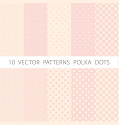 10 patterns seamless pink and white polka dots vector image