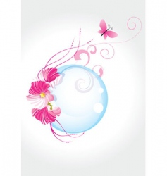 Pink flowers bubble and butter vector