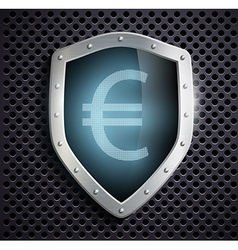 Metal shield with the image of euro vector