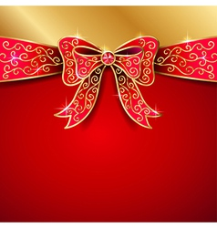 Jewel bow red vector