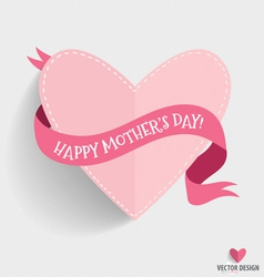 Happy mothers day with heart and ribbon vector