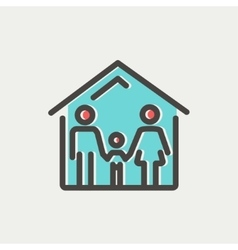 Family house thin line icon vector image