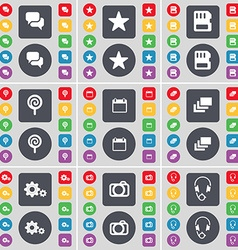 Chat star sim card lollipop calendar gallery gear vector