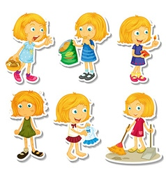 Blond girl doing different activities vector