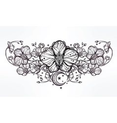 Orchid flower and paisley moon vector