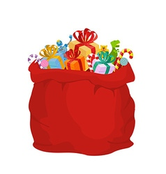 Bag with gifts santa claus big red festive holiday vector
