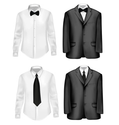 Black suit and white shirts vector