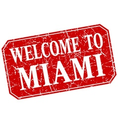 Welcome to miami red square grunge stamp vector
