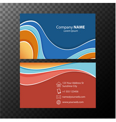 Businesscard template with blue and orange colors vector
